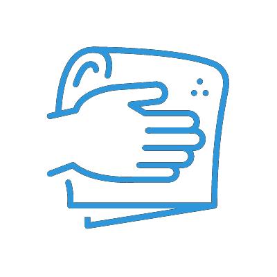 Icon Wischen blau